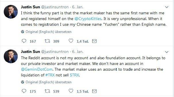 Tweets von Justin Sun am 6. Januar
