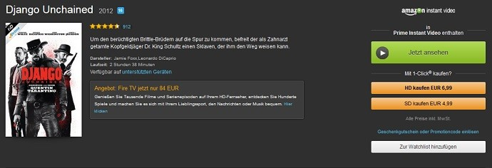 So sieht's aus: Amazon Instant Video