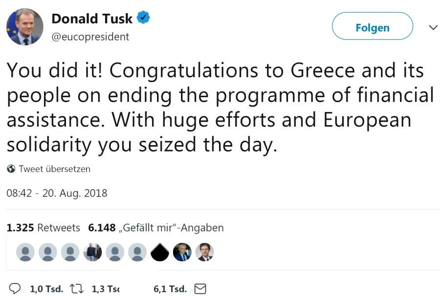 Tweet von Donald Tusk an Griechenland